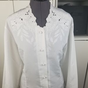 Vintage white button down blouse